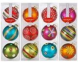 Inge-glas 66059 Mille Fiori - Juego de 12 bolas de navidad (decoradas a mano, 80 mm)