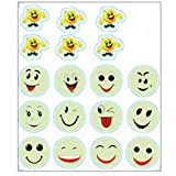 WOCACHI Wall Stickers Decals Cartoon Home Decals Decor Glow in The Dark Wall Sticker Smiling Face Art Mural Wallpaper Peel & Stick Removable Room Decoration Nursery Decor