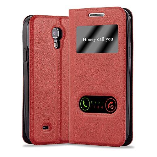 Cadorabo Funda Libro para Samsung Galaxy S4 en Rojo AZRAFÁN - Cubierta Proteccíon con Cierre Magnético, Función de Suporte y 2 Ventanas- Etui Case Cover Carcasa