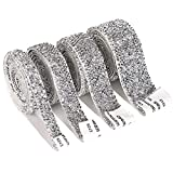 Self Adhesive Crystal Rhinestone Ribbon 4 Yards Bling Ribbons Roll Banding Belt Wrap Gem Stickers for Wedding Cakes Birthday Crafts Sandals Decorations, 4 Rolls in 4 Sizes (Silver)