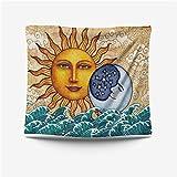 LZYMLG Tapices de Mandala en Blanco y Negro con Estrellas de Luna, Tapiz de decoración de Estilo Hippie hipódromo, decoración de Dormitorio, Tela Colgante Gt109939 73x95CM