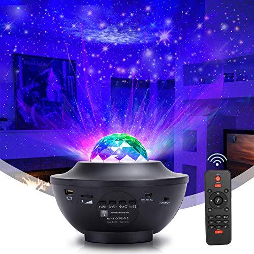 Rwest X LED Projektor Sternenhimmel Lampe, Kinder Nachtlicht Baby Sterne Lampe mit Fernbedienung/Bluetooth Lautsprecher und Starry Stern/Wasserwellen-Welleneffekt für Ballsaal,Geburtstagsfeier, Bar
