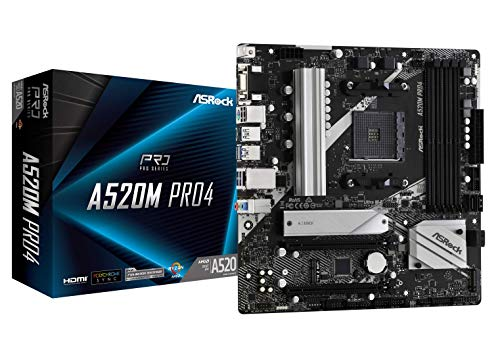 ASRock A520M Pro4 mATX Mainboard Sockel AM4 M.2/HDMI/DP/D-Sub/USB3.2 90-MXBDU0-A0UAYZ