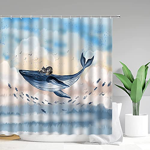 Funny Whale Shower Curtain Cute Hilarious Lazy Cat Riding Whale Blue Watercolor Small Fishes Flying in Sky Fantasy Creative Kids' Bath Decor Accessories with Hooks Polyester Fiber