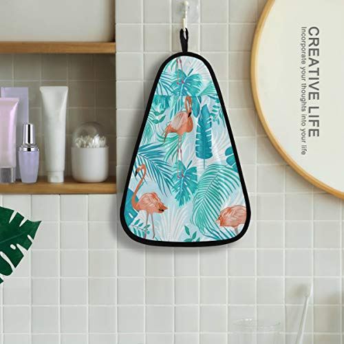 Flamingo Hand Bath Towel Hanging Tie Towels Quick Dry Cotton Kitchen Dish Cleaning Towels Cloth for Kitchen Bathroom Mudroom Laundry Room