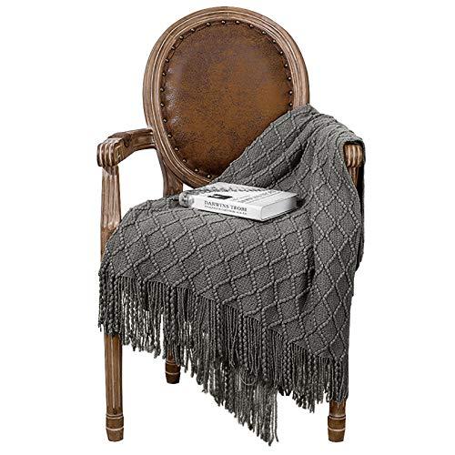 Ewolee Wolldecke, Warm Wohndecke Kuscheldecke Gestrickte Decke Sofadecke Decke für Wohnzimmer Büro, 173 x 121cm (Dunkelgrau)
