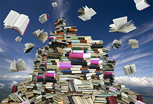 AOFOTO 6x4ft Mass of Books Backdrop Back to School Fantasy Book Flying in Blue Sky Photography Background Education School Study Success Photo Studio Props Student Teacher Boy Girl Kid Portrait Vinyl
