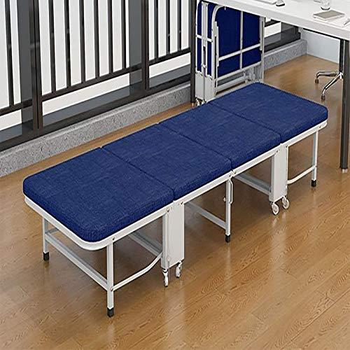 FTFTO Productos para el hogar Cuatro Cama de Esponja Plegable Cama de acompañante Cama de Siesta de Oficina Color sólido 74.8 * 23.6 * 11.8 Pulgadas Azul y Gris Azul 74.8 Veces; 11 Veces; 27.6in