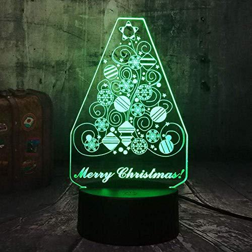 Creative Snowflake Christmas Tree 3D LED Lighting RGB Night Lights Lámpara de escritorio cálida Home Decro Happy Gift para niños