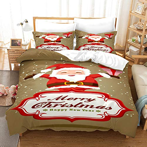 blank Duvet Cover Bedding Set Cinnamon Brown White Red Santa Single 53.15 x 78.74 inch Ultra Soft Easy Care With–Hotel Quality Bedding Sets 2 Pillowcase19.68 x 29.53 inch