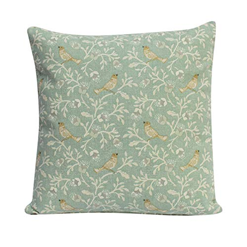 Dainty Birds on a Branch Double Sided cushion in Duck Egg Blue. 17' x 17' Square Case. Vintage Style design in a modern Duck Egg Colourway.