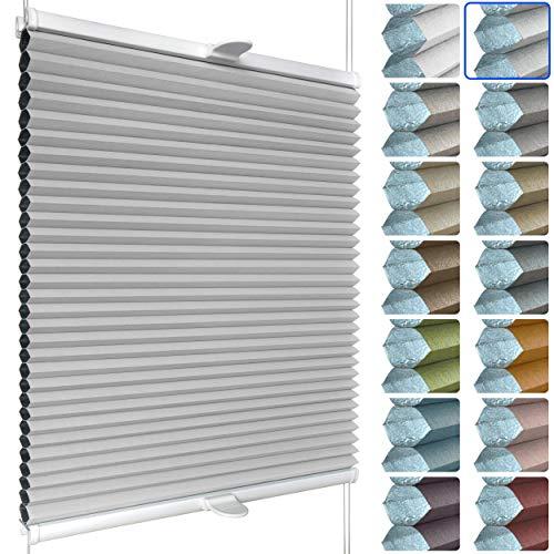 SchattenFreude Waben-Plissee für Fenster | 100% verdunkelnd/Blackout | Mit Klemm-Haltern | Klemmfix ohne Bohren | Hellgrau (Weiße Rückseite), Breite: 90cm x Höhe: 130cm