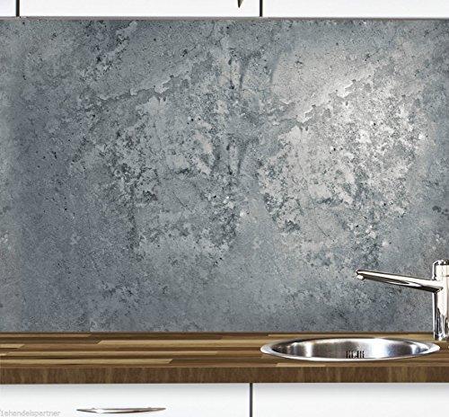 KLINOO Küchenrückwand in Steinoptik als Spritzschutz - Wandschutz - alle Untergründe (verdeckt Fugen) - zuschneidbar/erweiterbar - geruchsneutral - wiederablösbar - 96cm x 68cm (Beton)