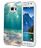 S6 Active Case - Case for Galaxy S6 Active - Cover Compatible for Samsung S6 Active - Blue Clean Ocean Water (Slim Flexible TPU Protective Silicone)