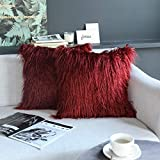 Kevin Textile Pack of 2, Christmas Decor Home Deluxe Soft Plush Merino Style Red Faux Fur Fuzzy Throw Pillow Cover Cushion Case for Bedroom Sofa Chair,18x18 Inch, Red Pear