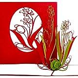"""Pop Up Karte """"Lilien in Rot & Grün"""" 3D Geburtstagskarte - Lilien Karten als kleines Geschenk, Gutschein oder Geschenkverpackung – zum Geburtstag oder als Dankeskarten & Dankeschön Geschenk"""