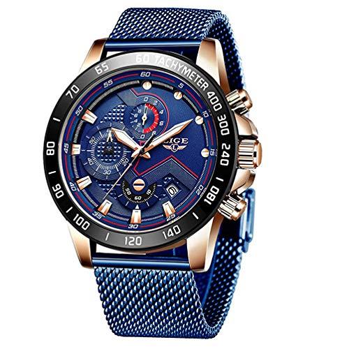 Uhren Herren Blau Luxus Edelstahl Mesh Band Chronograph Quarz Uhr Männer Datum Kalender Wasserdicht Multifunktions Armbanduhr
