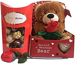 Valentines Gift Set with Teddy Bear, Chocolate Rose, and Ferrero Rocher Chocolates by Premier Life Store