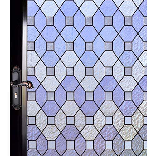 DUOFIRE 窓 めかくしシート 台風対策 飛散防止 窓ガラス 目隠しシート 窓用フィルム 窓ガラスフィルム ステンドグラス シール はがせる 断熱 遮光 結露防止 紫外線UVカット 浴室 風呂 玄関目隠し 水で貼る 貼り直し可能 おしゃれ幾何ひし形 (0.9M X 2M) D95-Y010