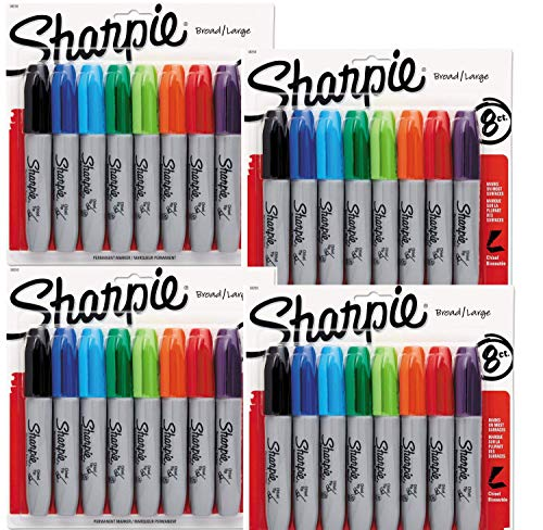 Sharpie Permanent Markers, Chisel Tip, Assorted Colors, 8-Count (38250PP) - 4 Packs, 32 Markers in Total - Black, Blue, Turquoise, Green, Lime, Orange, Red, and Purple