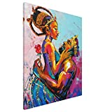 African Queen And King Black American Crown 16x20inch Canvas Prints Modern Lovers Picture Afro Painting Love Home Decoration Couple Giclee Artwork Wall Art Gallery Wrapped Wood Framed Ready To Hang