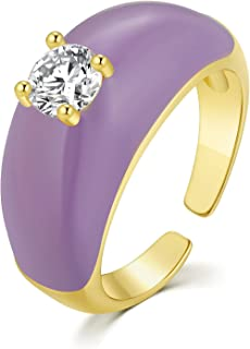 SISMIURRA Enamel Colorful Rings for Women 14k Gold Plated Cubic Zirconia CZ Statement Finger Bands Rings Halloween/Birthda...