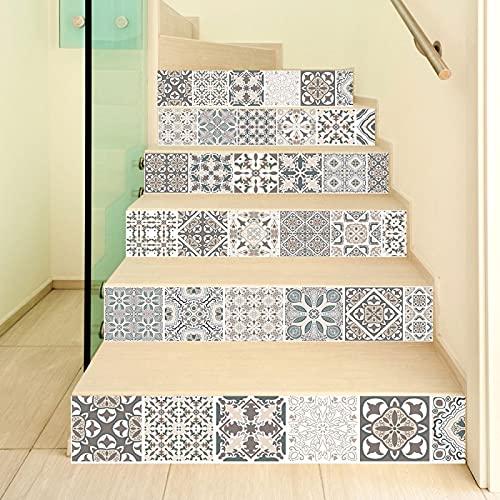 tzxdbh losetas vinilo para escaleras Blanco y negro estilo bohemio. 100CMx18CMx13pieces(39.3'w x 7'h x 13pieces) Ecológicas PVC Autoadhesivas Calcomanías para Escalera Impermeables Extraíbles para Dec