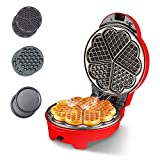 YFGQBCP 3-en-1 Wafflera, Waffle Hierro for clásico del corazón gofres Waffles, waflera, diseño Retro, 640 vatios