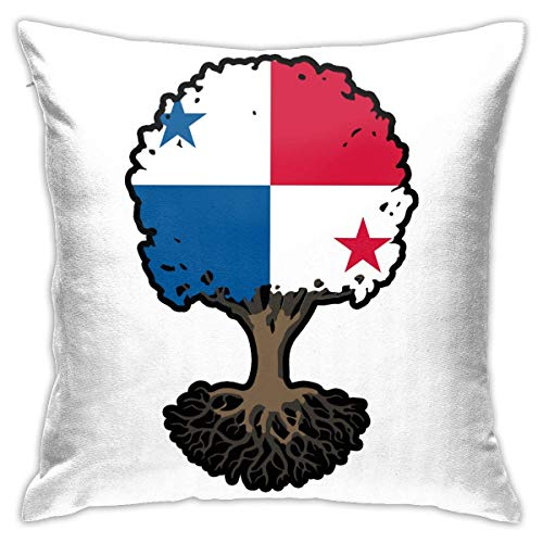 Traveler Shop Árbol de la Vida con Bandera de Panamá-1 Funda de Almohada Funda de cojín Cuadrada Sofá Decorativo para el hogar 18 x 18 Pulgadas
