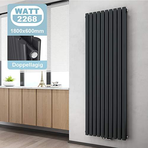 WELMAX Design Paneelheizkörper 1800 x 600 mm Doppellagig Anthrazit Oval Röhren Heizkörper Mittelanschluss Vertikal Wohnzimmer/Badezimmer Heizkörper Heizung