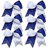 8 Inch 2 Colors Cheerleader Bows Ponytail Holder with Rhinestones Hair Tie Cheerleading Bows 6 Pcs (Royal Blue/White)