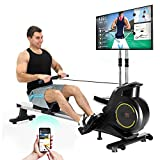 Roneyville RM8000 Home Gym Rowing Machine with Digital Fitness LCD Console and Integrated Kinomap Fitness App-Aluminum Rail Magnetic Rowing Machine with Live Video Streaming, Video Coaching & Training