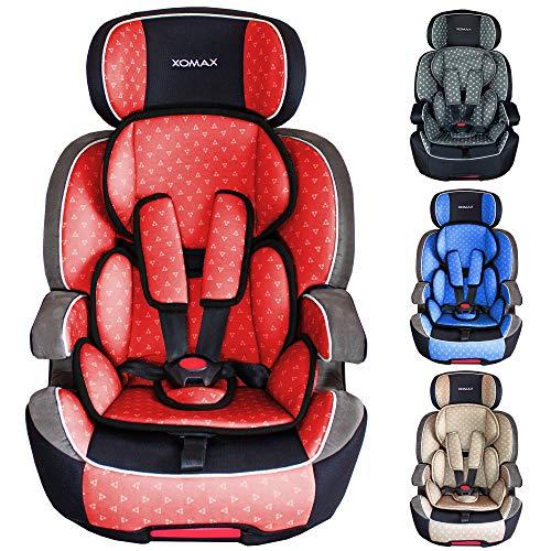 XOMAX XL-518 Kindersitz mit ISOFIX I Gruppe I / II / III (9 - 36 kg) I ECE R44/04 I mitwachsend + 5-Punkt / 3-Punkt Gurt I Kopfstütze verstellbar I Bezug abnehmbar, waschbar I rot / schwarz / grau