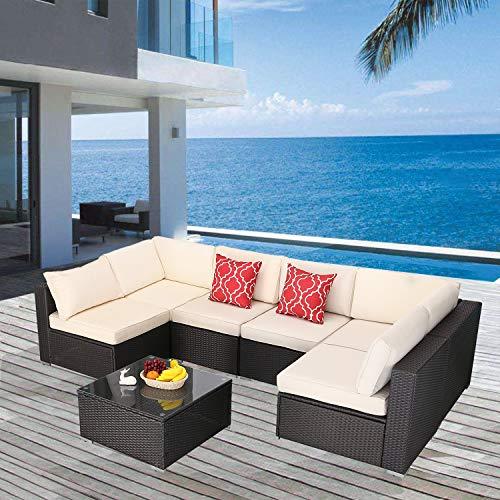 Furnimy 7 Pieces Patio Furniture Sets Outdoor Furniture Sectional Sofa Patio Conversation Set Outdoor Patio Furniture Set Rattan Wicker Expresso with Patio Table (Beige)