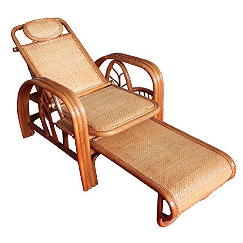 LVZAIXI True Rattan Lounge stoel vouwstoel Lunch Break Strandstoel Siesta Bed Recliners Vouwen rieten stoel