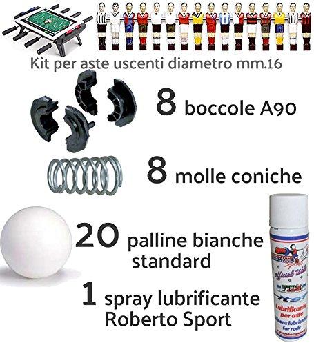 Renzline by Longoni Calcio Balilla ricambi. Kit con 8 boccole e 8 Molle per aste uscenti Diametro mm.16, 20 Palline Bianche Standard e Una Confezione lubrificante Spray Roberto Sport.