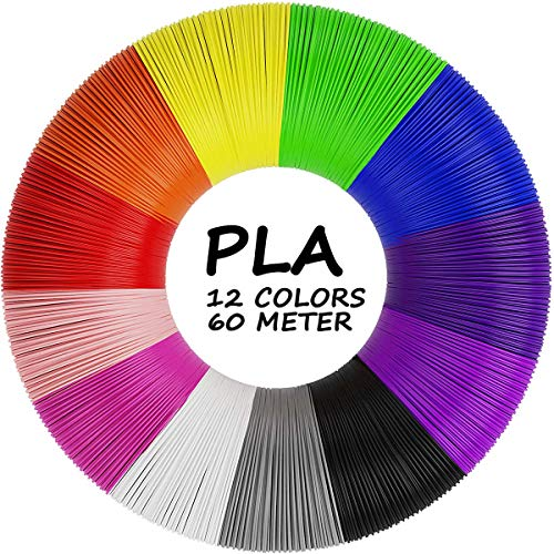 AGPTEK Filamento PLA para Pluma de 3D, 12 Colores 3D Pen Filamento 1.75MM (5 M por Color, Total 197 Pies/ 60M)