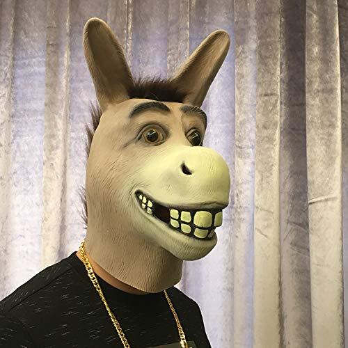 DHLZ Tierkopfbedeckung Kugelmaske Erwachsener Pferdekopf Hasenstange Requisiten Durchschnittlicher Code Eselskopf