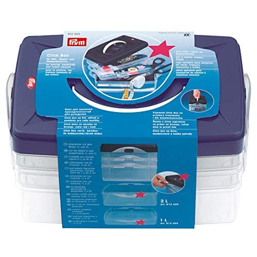 Prym Click-Box Basismodell, Kunststoff, transparent/pflaumenblau, 24 x 16.5 x 14 cm