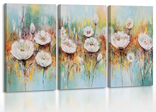 YS-Art | Cuadro Pintado a Mano Amapolas blancass | Cuadro Moderno acrilico | 135x60 cm | Lienzo Pintado a Mano | Cuadros Dormitories | único | 3-Partes