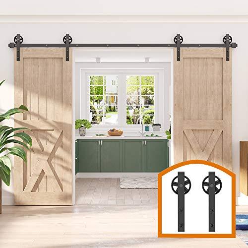 ZEKOO 14 FT Big Spoke Black Wheel Sliding Barn Wood Door Interior Closet Door Kitchen Door Track Hardware