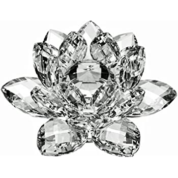 3.4 inch Rainbow Crystal Lotus Flower with Gift Box for Feng Shui Home Deco W5V5