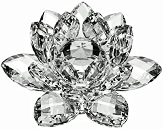Amlong Crystal Crystal Lotus Flower with Gift Box, 5 Inch, Clear