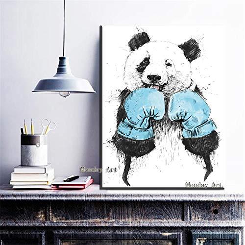 wZUN Lienzo Pintura al óleo Decoración del hogar Mural Blanco y Negro Kung Fu Panda Boxeo Panda Habitación Infantil Sala de Estar 60x90 Sin Marco