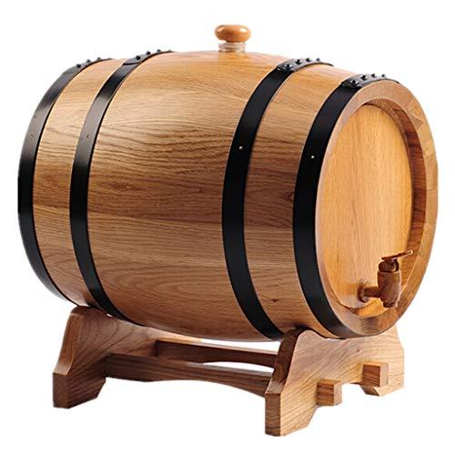 Ann-Portaghiaccio Botte di Rovere in Legno di Vino Botte di Rovere, Botte in Legno Vintage 5L Senza Rivestimento Utilizzato per Conservare Il Tuo Brandy di Birra di Whisky Preferito