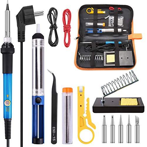 TABIGER Soldador eléctrico estaño kit, 15 en 1, soldador de estaño profesional con temperatura ajustable 200-450 °C, 60 W precisión, estación soldadora para reparaciones de electrotécnica.