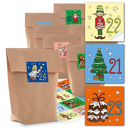 Adventskalender knutselset: 24 kleine bruine kraftpapier papieren zakken 14 x 22 x 5,6 cm + 24 stuks kleurrijke kinderstickers adventskalendercijfers van 1 tot 24 zelf knutselen rood blauw groen