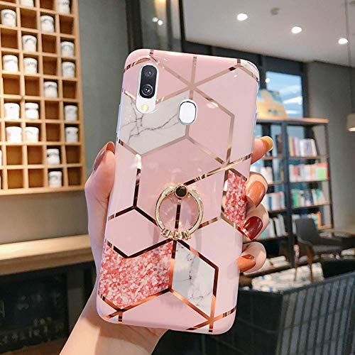 Herbests Compatible with Huawei P20 Lite Case Girl Women Marble Designed Pattern Shockproof Slim Soft Flexible TPU Rubber Silicone Cover with Diamond Ring Holder Stand,Rose Gold