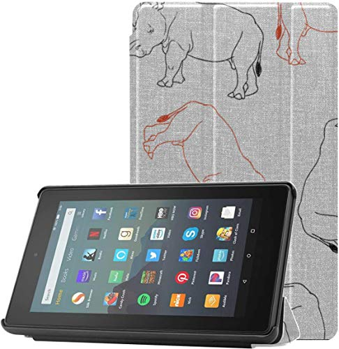 All-New Amazon Fire 7 Tablet Case (9th Generation, 2019 Release) Slim Fit Pu Leather Standing Rhino Pattern Isolated On Fire 7 Tablet Standing with Auto Wake/Sleep