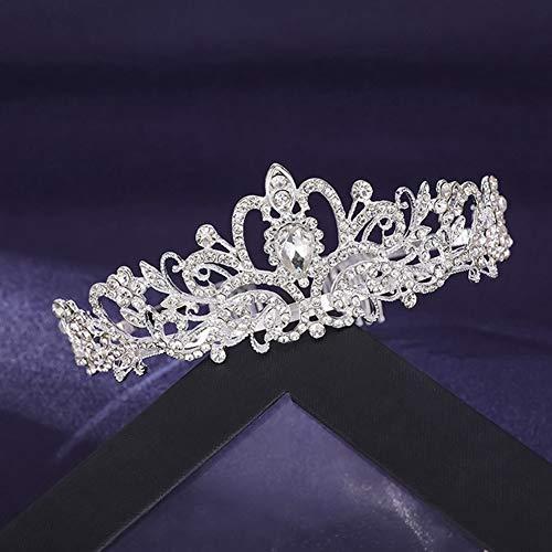 Tiara de novia de princesa, corona de cristal con peine de estrás,...